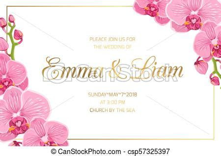 Wedding invitation border frame corner pink orchid