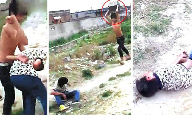 These are the images of a gang dropping a slab of rock on a helpless teenager in China