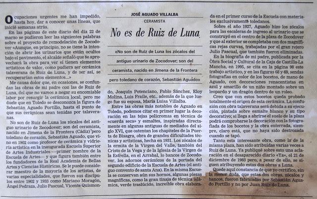 No es Ruiz de Luna. Artículo de José Aguado aclarando la autoría de la cerámica de los urinarios de Zocodover. ABC