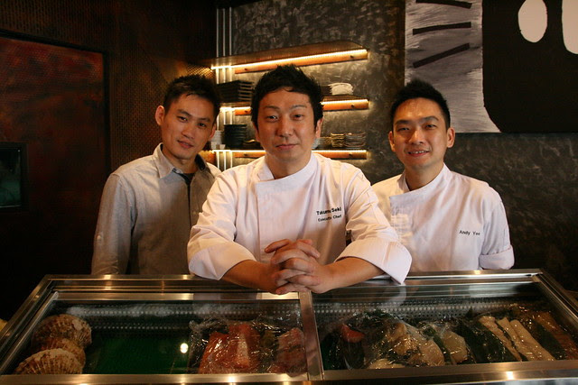 Chef Takumi Seki flanked by his manager (left) and Chef Andy Yee (right)
