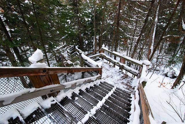 Steps leading down to Tahquamenon Falls in the winter.