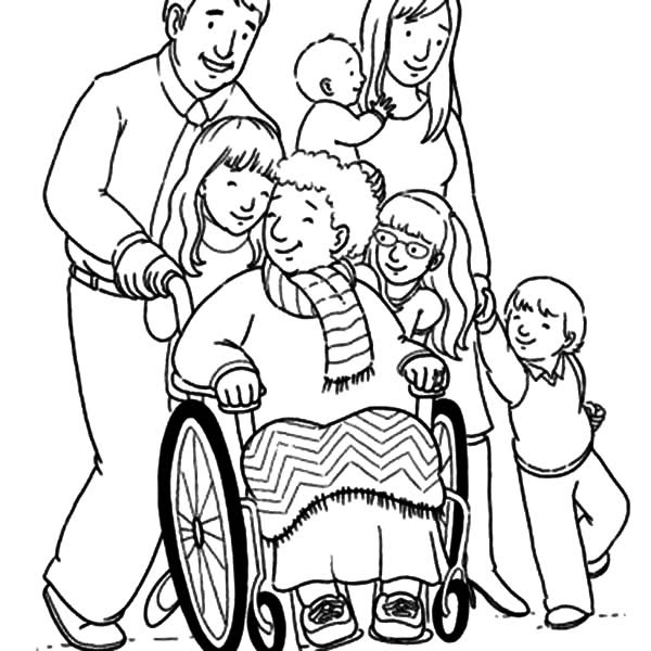 Grandmother and Her Big Family Coloring Pages