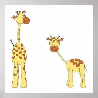 Adult and Baby Giraffe. Cartoon Vector Art. Custom print