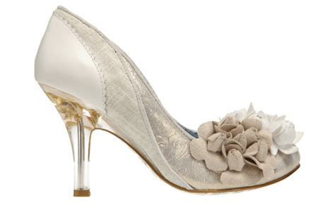 Funky wedding shoes with medium kitten heel and fabric