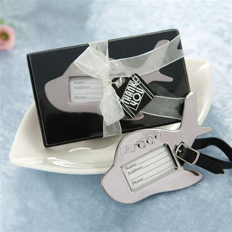 Airplane Luggage Tag Wedding Place Card Holder Favor   #