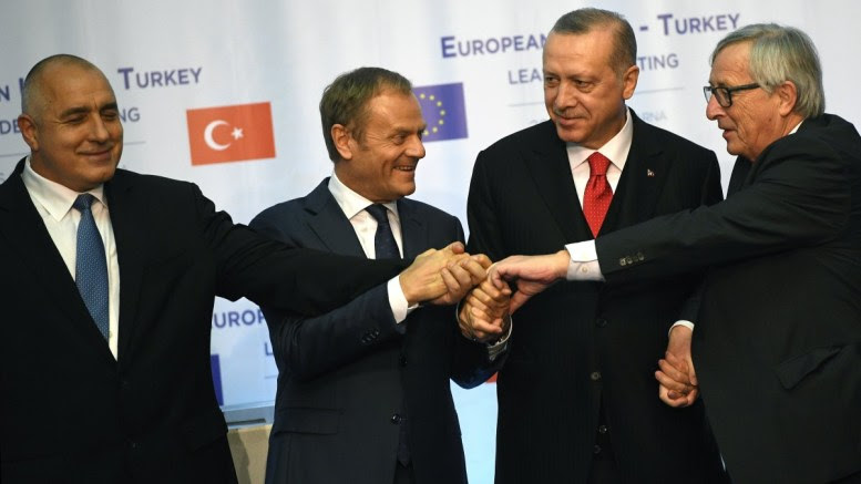 File Photo: Bulgarian Prime Minister Boyko Borissov , European Council President Donald Tusk, Turkish President Recep Tayyip Erdogan, and European Commission President Jean-Claude Juncker during the summit meeting between the leaders of the European Union and Turkey on at Evksinograd Residence in the town of Varna, Bulgaria on 26 March 2018. EPA, VASSIL DONEV