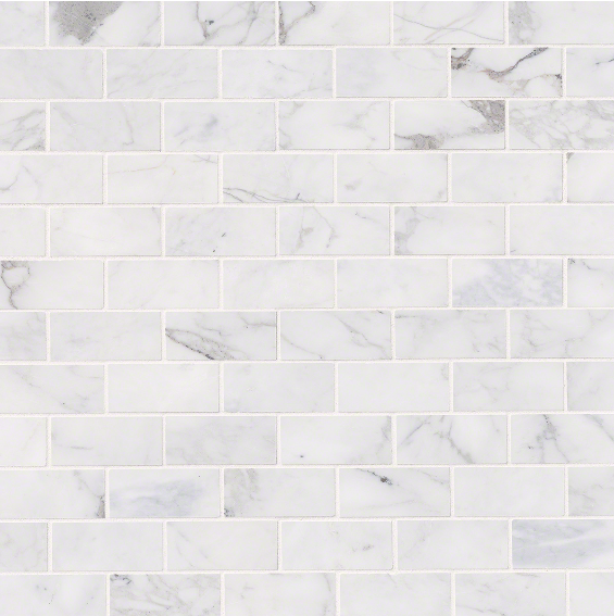 Calacatta Cressa White Subway Tile 2x4 75 Cabinets