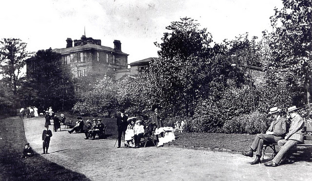 The Buile Hill Mansion stands behind the thick vegetation of the park in the 1860s. Credit: University of Salford. CC BY 2.0