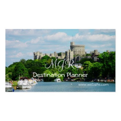 Monogram, Destination Planner, Travel Vacations Business Card Template
