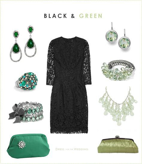 Black Dress and Green Accessories   Dress for the Wedding