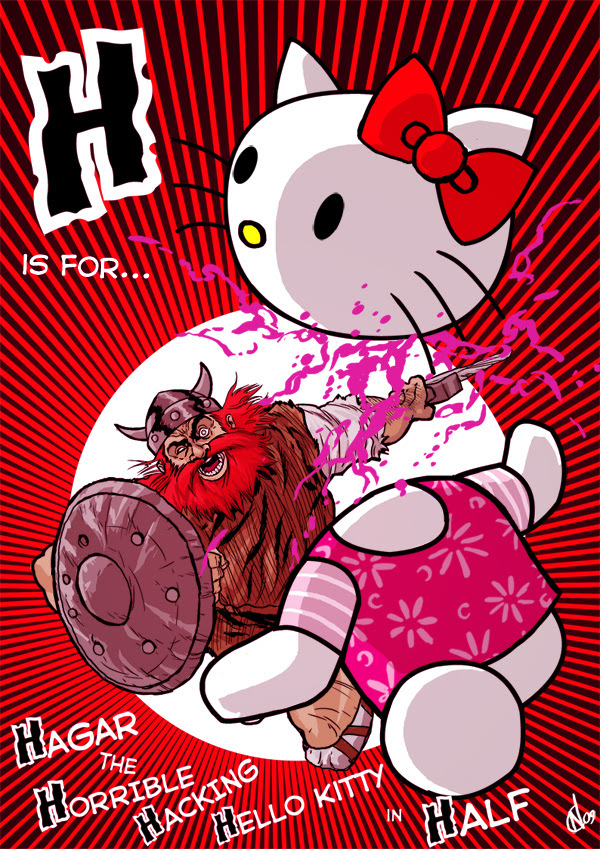 H is for... Hagar the Horrible Hacking Hello Kitty in Half