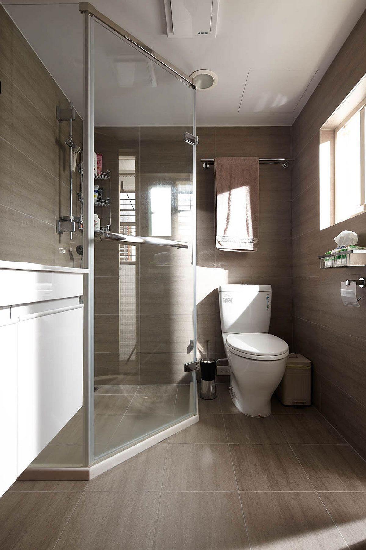 Tiny bathroom with glass door