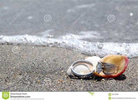 Wedding Rings On Beach By Sea Royalty Free Stock Images