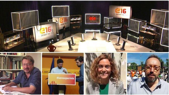 El plató i alguns dels candidats del debat de TV3 i Catalunya Ràdio