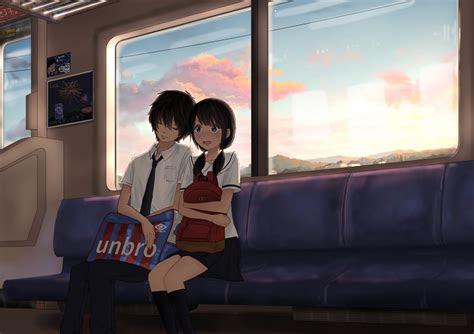 anime couple train trip romance