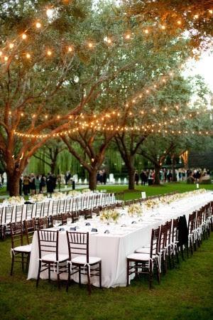 outdoor receptionreceptionweddingwedding ideastwinkling lightstwinkle lights