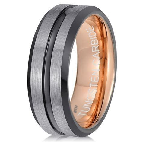Mens Gun Metal Black/Grey Tungsten Ring