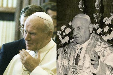 Juan Pablo II (izquierda) y Juan XXIII.