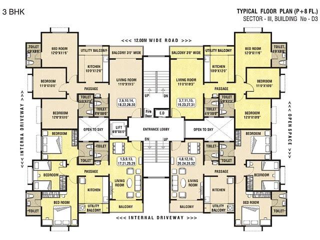 Dwarka-Chakan-3BHK Flat-Floor-Paln