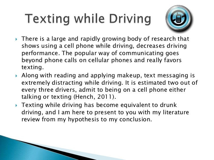 thesis statement examples texting while driving