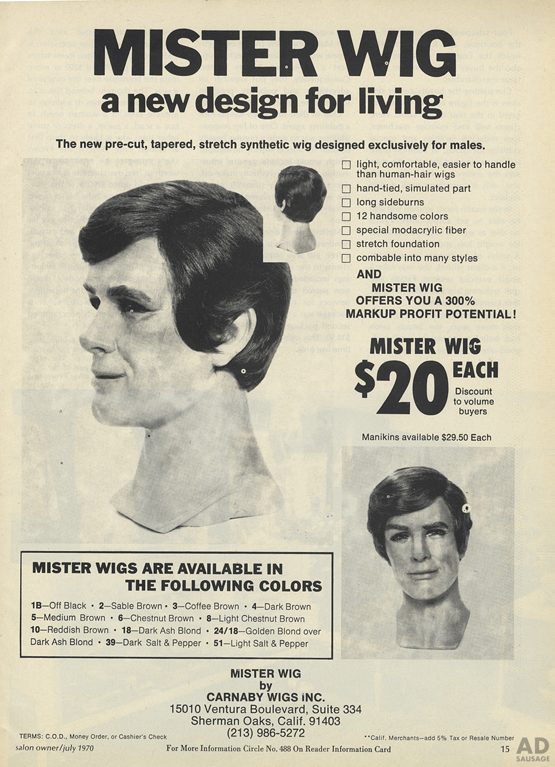 adsausage:Mister Wig {1970}