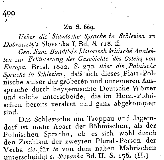 Zu S 669 lieber die Slawische Sprache in Schlesien in Dobrowsky