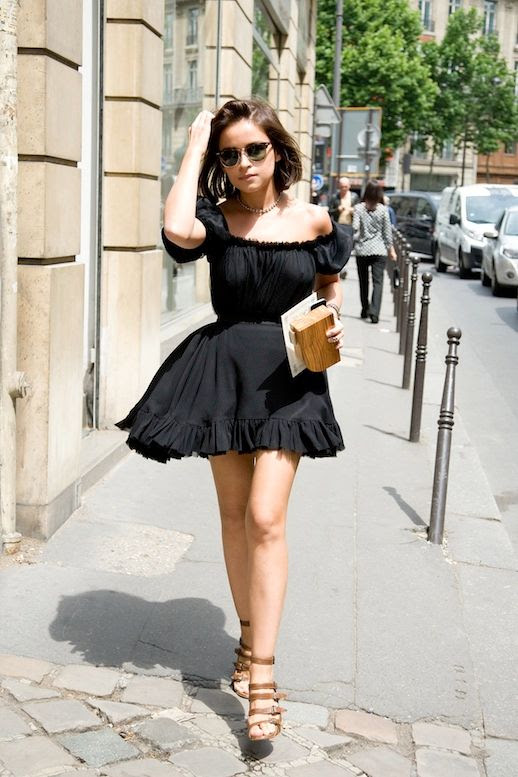 Le Fashion Blog Street Style Miroslava Duma Short Bob Haircut Ray Ban Clubmaster Sunglasses Black Off The Shoulder Ruffled Dress Wood Clutch Bag Brown Buckle Strap Sandals Summer Style Via Elle Spain photo Le-Fashion-Blog-Street-Style-Miroslava-Duma-Off-The-Shoulder-Dress-Summer-Style-Via-Vogue-UK.jpg
