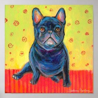 French bulldog painting 2 poster print print