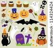 Vector set of Halloween elements - stock vector