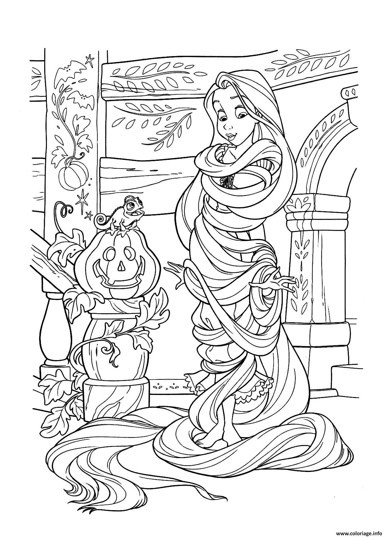 Coloriage Halloween Disney Princesse Raiponce Jecoloriecom