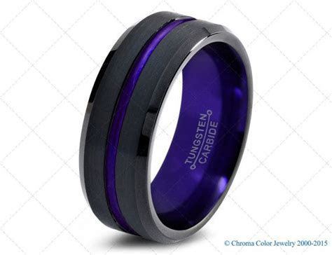 Mens Wedding Band,Black Purple Tungsten Ring,Black Wedding
