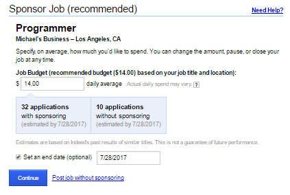 How to Post a Job on Indeed - Sponsor Job Option