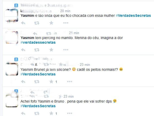 Comentários sobre Verdades secretas em rede social (Foto: Twitter/ Reprodução)