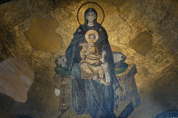 la Theotokos, fresque au plafond a Hagia Sophia, Constantinople