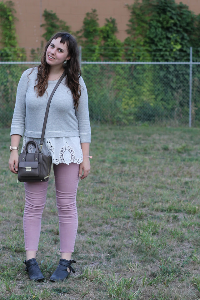 "Blush and Lace outfit: rose-colored denim Gap jeans, Jeffery Campbell ""Everly"" black leather open ankle boots, Phillip Lim for Target bag, Kate Spade polka-dot iPhone case, Anthropologie gray sweatshirt with white lace detail"