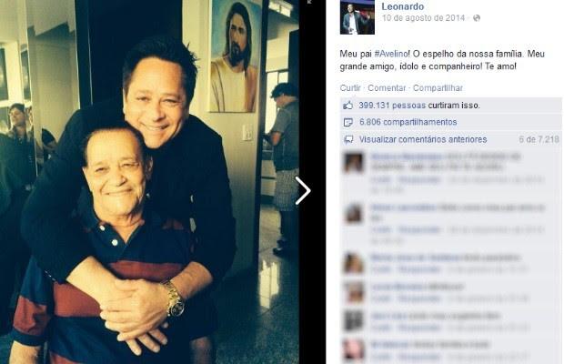 Homenagem do cantor Leandro ao pai, Avelino Costa (Foto: Reprodução/Facebook)