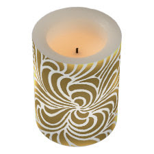 Swirling vintage Japanese abstract golden&white Flameless Candle