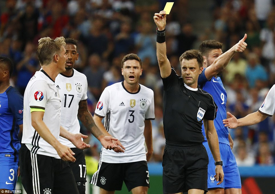 Schweinsteiger was booked by referee Nicola Rizzoli and Griezmann stepped up against Manuel Neuer from 12 yards