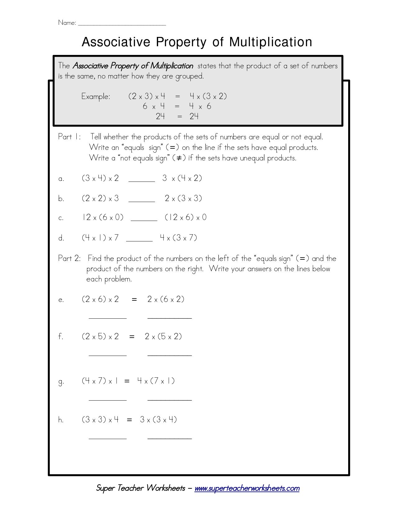 associative property multiplication worksheets_685617