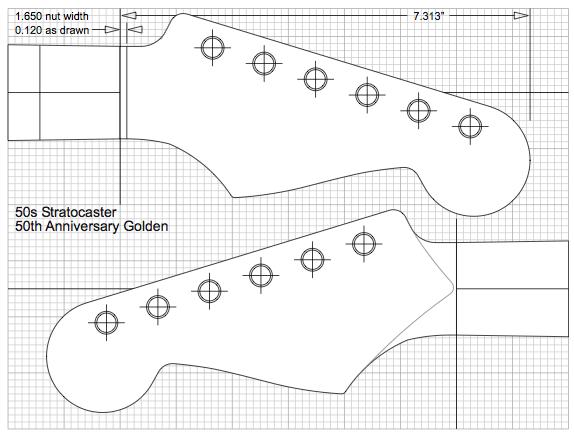 Fender Stratocaster Large Headstock Template