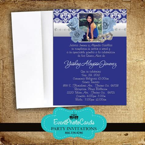 Royal Blue Roses Quinceanera Invitations, Announcements