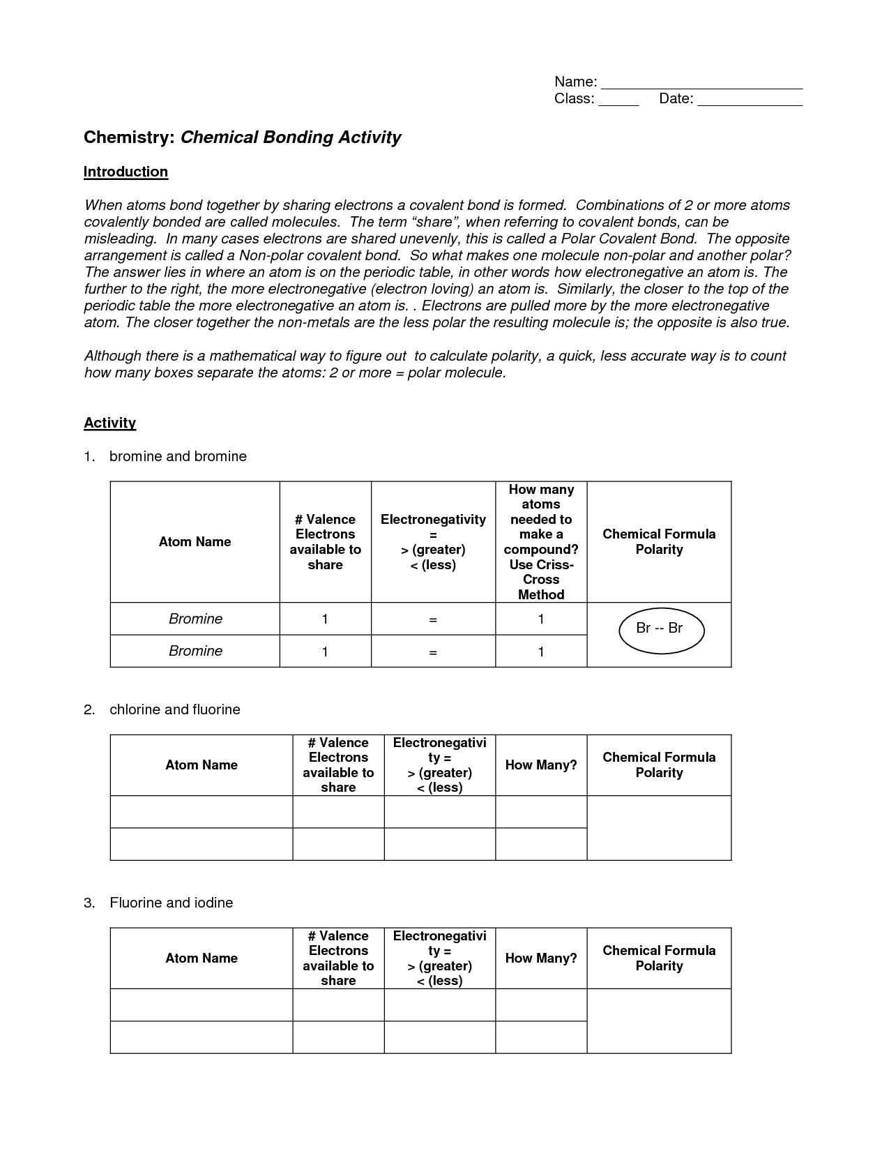 16 Best Images of Ionic Bonding Worksheet Answer Key  Chemistry Chemical Bonding Worksheet