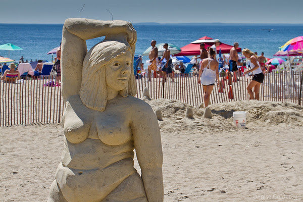 Hampton Beach sand sculpture, woman