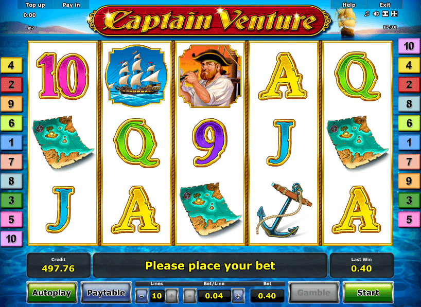 Get ready to drop anchor with some great prizes on one of the best looking games in the Novomatic slots range! As you'd expect from a game with a name like Captain Venture, you'll be in for a treat if you like an exploration theme, and the symbols and icons are all particularly detailed here, making for a truly atmospheric and interesting slot game/5(15).Akçay