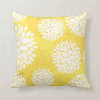 Lemon Yellow Floral Pattern Pillow