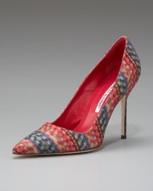 Manolo Blahnik Multicolor Fabric Point-Toe Pump