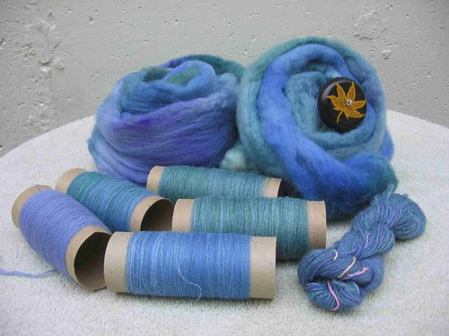 Blue Face Leicester roving, singles, and 2-ply