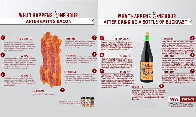 What happens to your body after eating bacon revealed in parody infographic