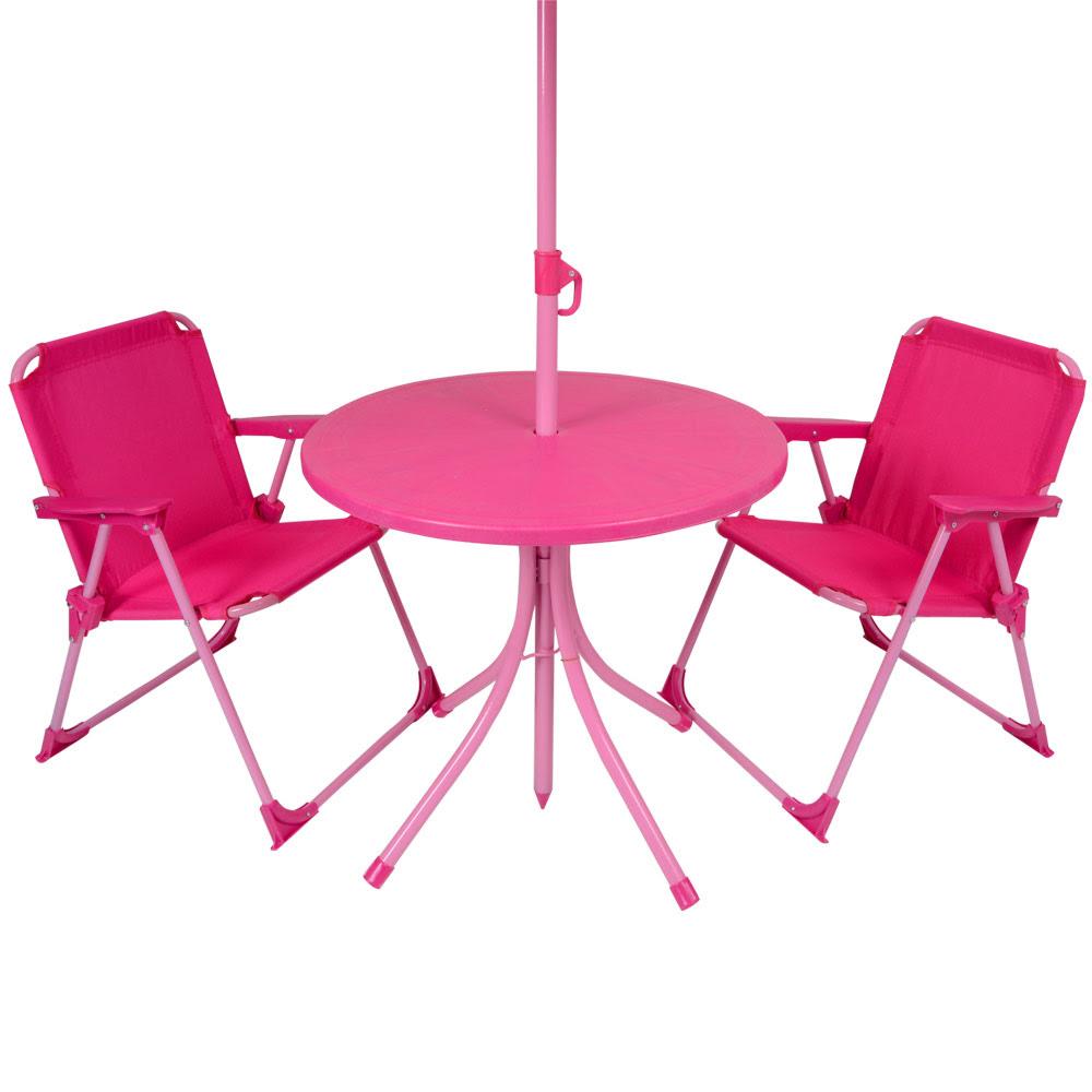 Kids 4pc Garden Patio Furniture Set Pink Table Parasol ...