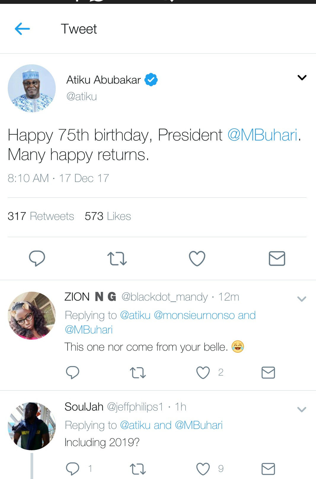 Atiku Wishes President Buhari Happy 75th Birthday, Nigerians React